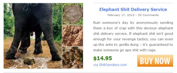 1 Elephant shit sent through mail